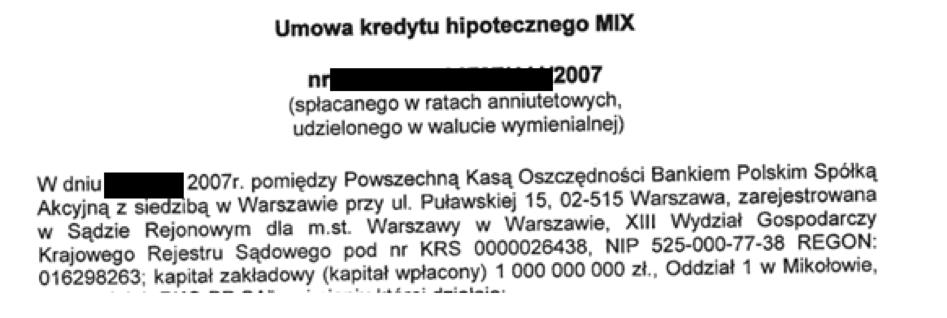 Umowa kredytu hipotecznego MIX